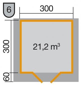 Weka Gartenhaus Premium28DT mit Vordach Gr. 4 natur 380x370cm Bild 2
