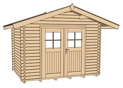 Weka Gartenhaus Premium28DT mit Vordach Gr. 5 natur 380x450cm Bild 4