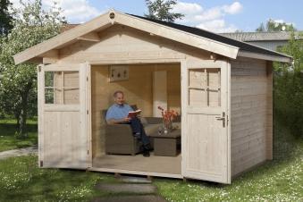Weka Gartenhaus Premium28DT mit Vordach Gr. 5 natur 380x450cm Bild 1