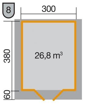Weka Gartenhaus Premium28DT mit Vordach Gr. 5 natur 380x450cm Bild 2