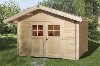 Weka Gartenhaus Premium28DT mit Vordach Gr.1 natur 380x270cm Bild 1