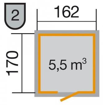 Weka Gerätehaus 16 mm Schwedenhaus 348 Gr. 1 natur 200x208cm Bild 2