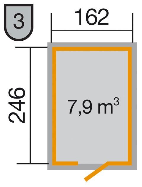 Weka Gerätehaus 16 mm Schwedenhaus 348 Gr. 2 natur 200x286cm Bild 2