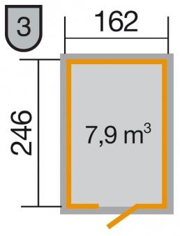Weka Gerätehaus 16 mm Schwedenhaus 348 Gr. 2 rot 200x286cm Bild 2
