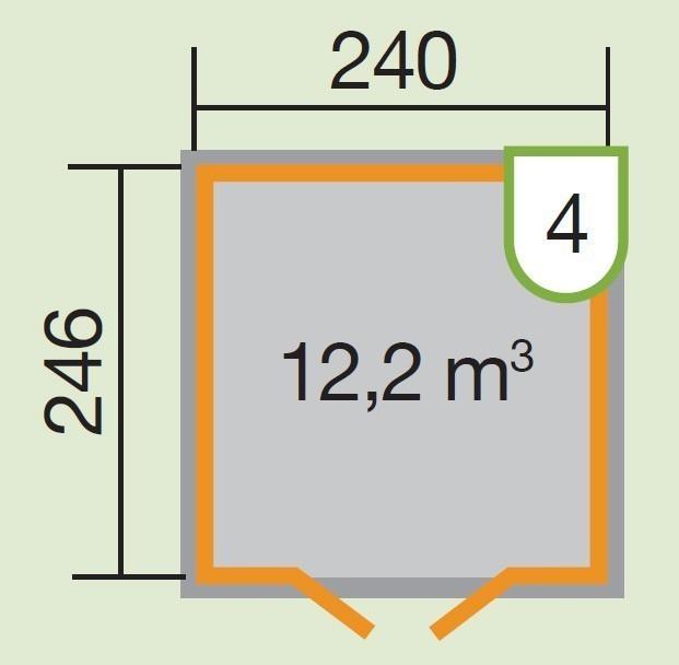 Weka Gerätehaus 16 mm Schwedenhaus 349 Gr. 3 rot 277x286cm Bild 2