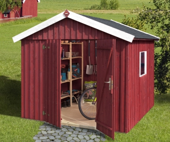 Weka Gerätehaus 16 mm Schwedenhaus 349 Gr. 3 rot 277x286cm Bild 1