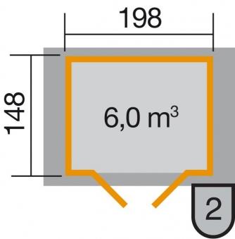 Weka Gerätehaus 19 mm 316 Gr.1 lasiert 240x171cm Doppeltüre Bild 2