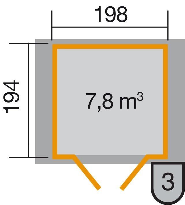 Weka Gerätehaus 19 mm 316 Gr.2 lasiert 240x217cm Doppeltüre Bild 2