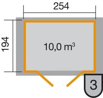 Weka Gerätehaus 19 mm 316 Gr.3 lasiert 290x217cm Doppeltüre Bild 2