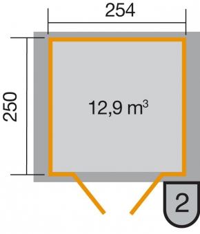 Weka Gerätehaus 19 mm 316 Gr.4 lasiert 290x273cm Doppeltüre Bild 2