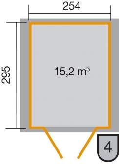 Weka Gerätehaus 19 mm 316 Gr.5 lasiert 290x318cm Doppeltüre Bild 2