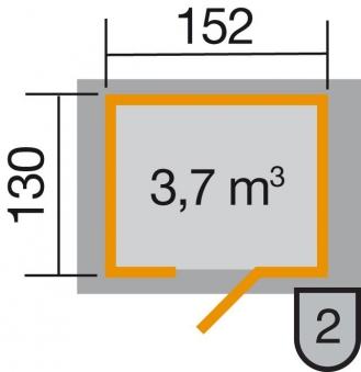 Weka Gerätehaus 19 mm 317 Gr.1 natur 191x152cm Einzeltür Bild 2