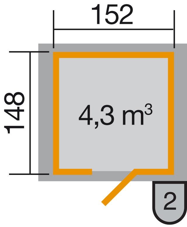 Weka Gerätehaus 19 mm 317 Gr.2 lasiert 191x171cm Einzeltüre Bild 2