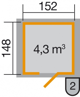 Weka Gerätehaus 19 mm 317 Gr.2 natur 191x171cm Einzeltüre Bild 2