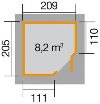 Weka Gerätehaus 19mm Gartenhaus 229 Gr. 1 anthrazit 244x244cm Bild 2