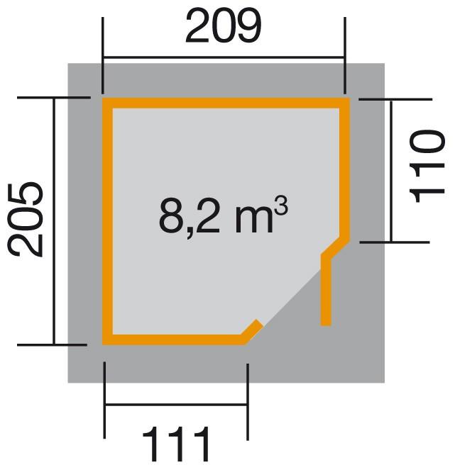 Weka Gerätehaus 19mm Gartenhaus 229 Gr. 1 grau 244x244cm Bild 2