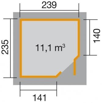Weka Gerätehaus 19mm Gartenhaus 229 Gr. 2 grau 270x270cm Bild 2