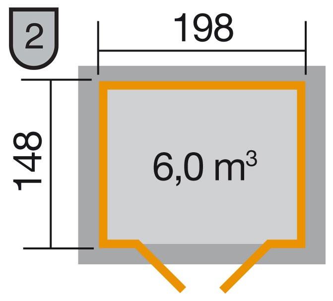 Weka Gerätehaus 19mm Gartenhaus 323 Gr.1lasiert 225x175cm Bild 2