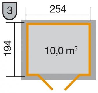 Weka Gerätehaus 19mm Gartenhaus 323 Gr.2 natur 280x221cm Bild 2
