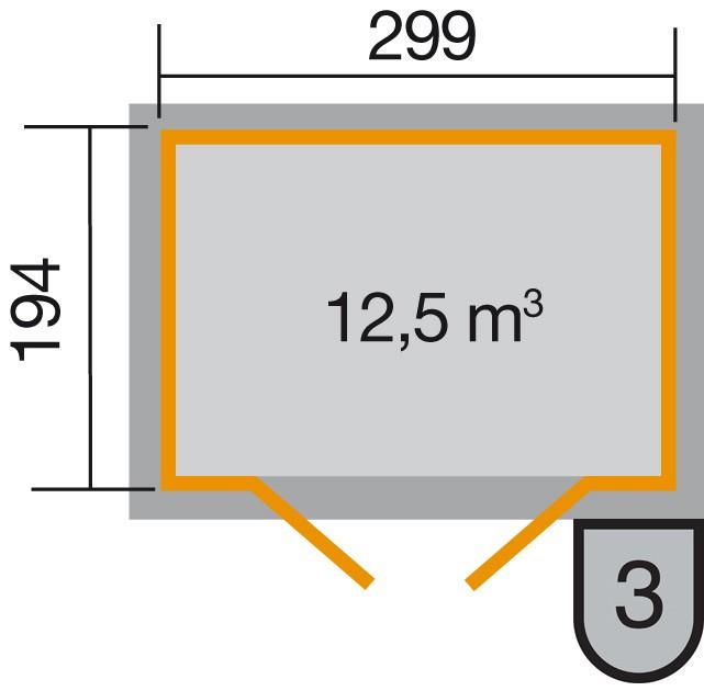 Weka Gerätehaus 19mm Gartenhaus 323 Gr.3 lasiert 330x221cm Bild 2