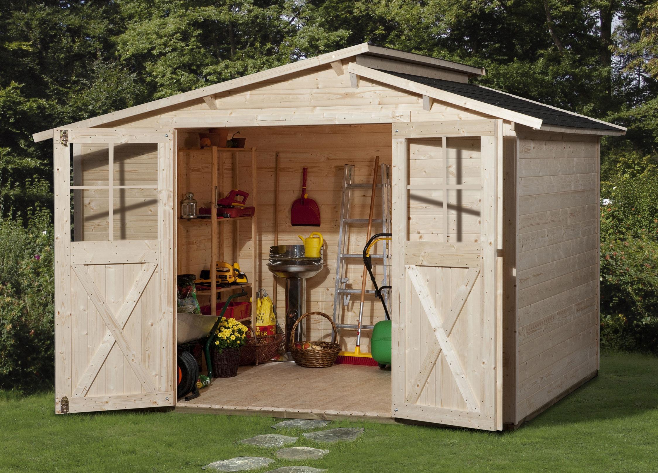 Weka Gerätehaus 19mm Gartenhaus 323 Gr.3 natur 330x221cm Bild 1