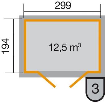 Weka Gerätehaus 19mm Gartenhaus 323 Gr.3 natur 330x221cm Bild 2