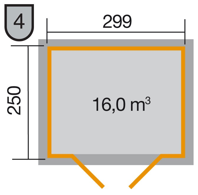 Weka Gerätehaus 19mm Gartenhaus 323 Gr.4 lasiert 330x277cm Bild 2