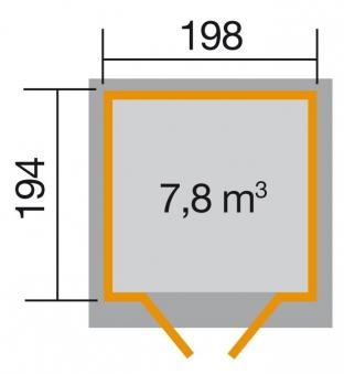 Weka Gerätehaus 19mm Gartenhaus 325 Gr.2  lasiert 222x237cm Bild 2
