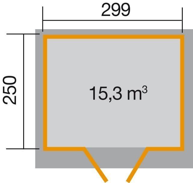 Weka Gerätehaus 19mm Gartenhaus 325A Gr.2 lasiert 321x296cm Bild 2