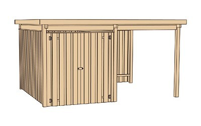 Weka Gerätehaus 20 mm Lagerhaus 607 Variante 1 kdi 410x304cm Bild 3