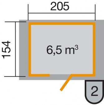 Weka Gerätehaus 21 mm Gartenhaus 223 Gr. 1 anthrazit 260x174cm Bild 2