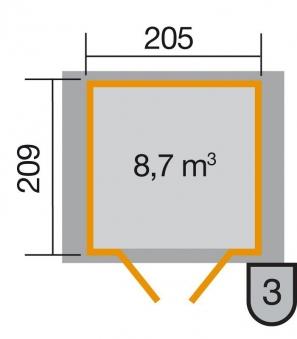 Weka Gerätehaus 21 mm Gartenhaus 224 Gr. 1 rot 260x229cm Doppeltür Bild 2