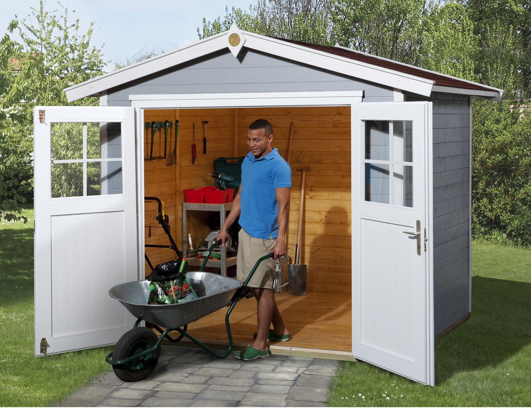 Weka Gerätehaus 21 mm Gartenhaus 224 Gr. 2 grau 280x229cm Doppeltüre Bild 1