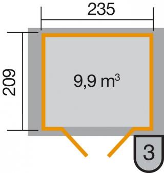 Weka Gerätehaus 21 mm Gartenhaus 224 Gr. 2 grau 280x229cm Doppeltüre Bild 2