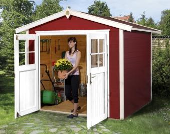 Weka Gerätehaus 21 mm Gartenhaus 224 Gr. 2 rot 280x229cm Doppeltüre Bild 1
