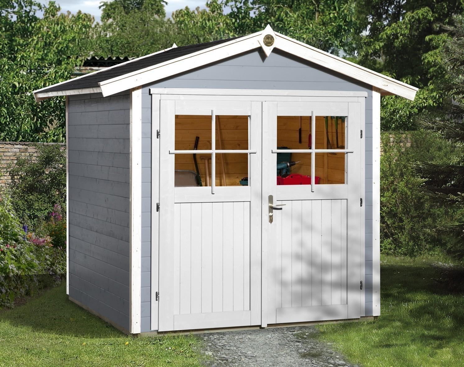 Weka Gerätehaus 21 mm Gartenhaus 224 Gr. 3 grau 280x259cm Doppeltüre Bild 1