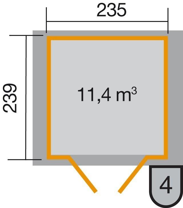 Weka Gerätehaus 21 mm Gartenhaus 224 Gr. 3 grau 280x259cm Doppeltüre Bild 2