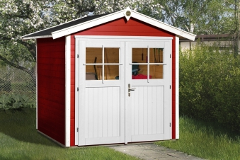 Weka Gerätehaus 21 mm Gartenhaus 224 Gr. 3 rot  280x259cm Doppeltüre Bild 1