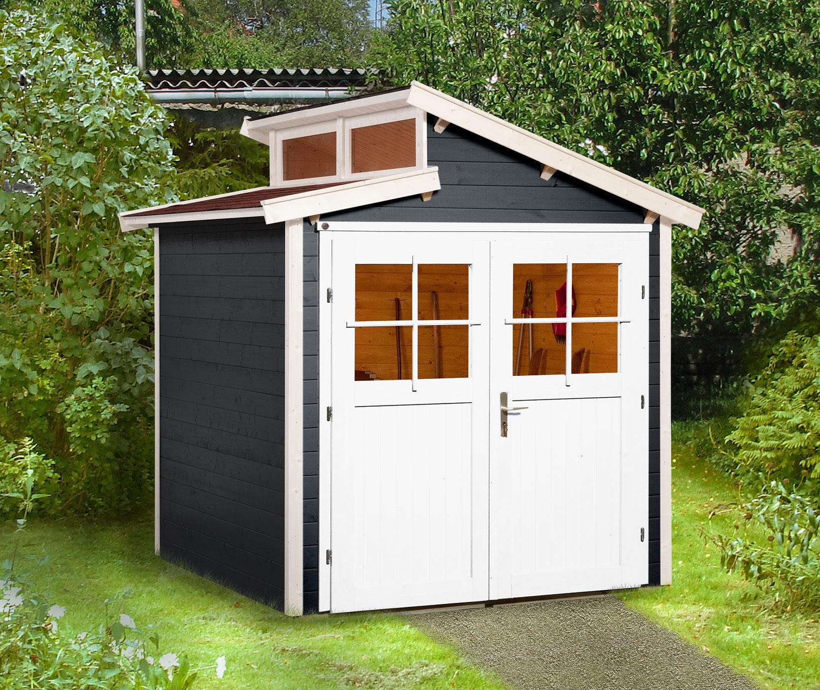 Weka Gerätehaus 21 mm Gartenhaus 226 Gr. 1 anthrazit 235x229cm Bild 1