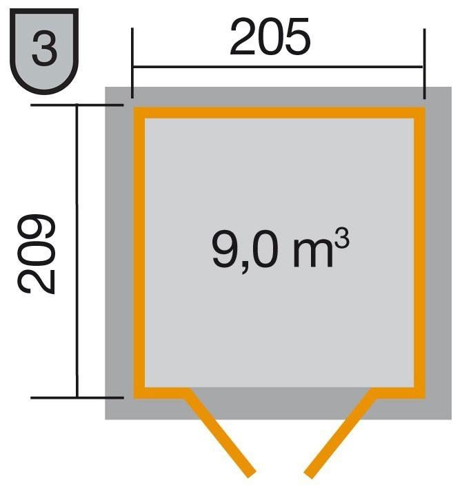 Weka Gerätehaus 21 mm Gartenhaus 226 Gr. 1 anthrazit 235x229cm Bild 2