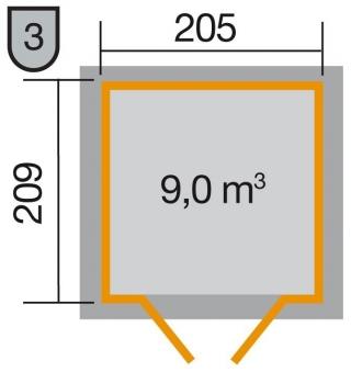 Weka Gerätehaus 21 mm Gartenhaus 226 Gr. 1 grau 235x229cm Bild 2