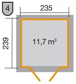 Weka Gerätehaus 21 mm Gartenhaus 226 Gr. 2 grau 265x259cm Bild 2
