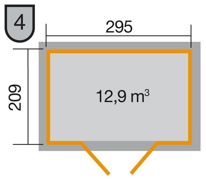 Weka Gerätehaus 21 mm Gartenhaus 226 Gr. 3 anthrazit 325x229cm Bild 2