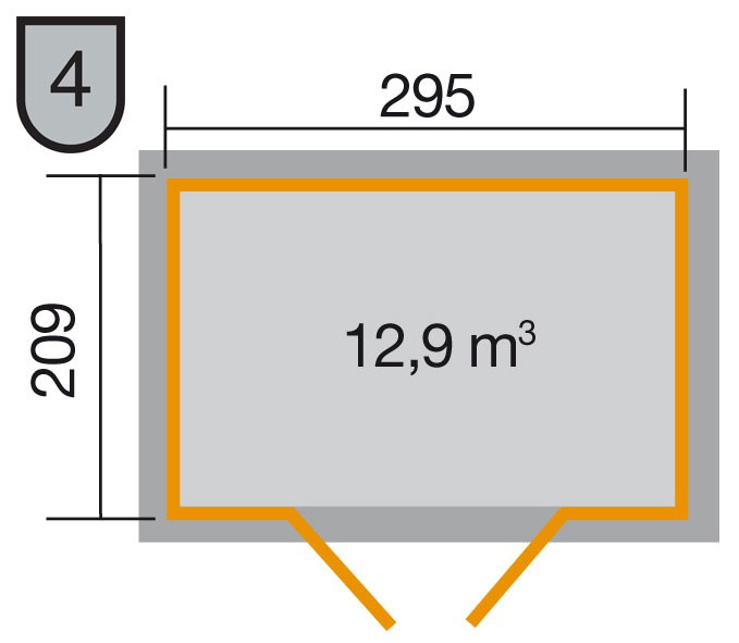 Weka Gerätehaus 21 mm Gartenhaus 226 Gr. 3 grau 325x229cm Bild 2