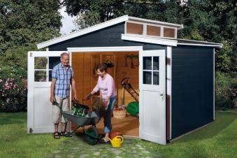 Weka Gerätehaus 21 mm Gartenhaus 226 Gr. 4 anthrazit 325x319cm Bild 1