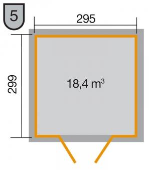 Weka Gerätehaus 21 mm Gartenhaus 226 Gr. 4 anthrazit 325x319cm Bild 2