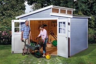 Weka Gerätehaus 21 mm Gartenhaus 226 Gr. 4 grau 325x319cm Bild 1