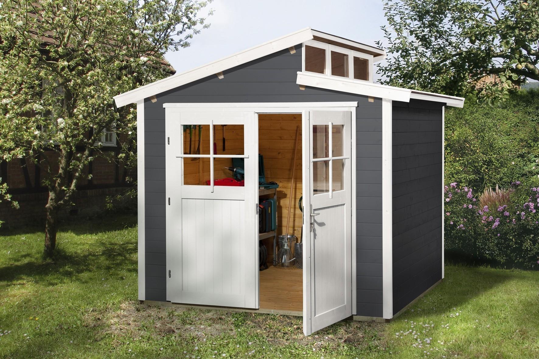 Weka Gerätehaus 21 mm Gartenhaus 226 Gr.2 anthrazit 265x259cm Bild 1