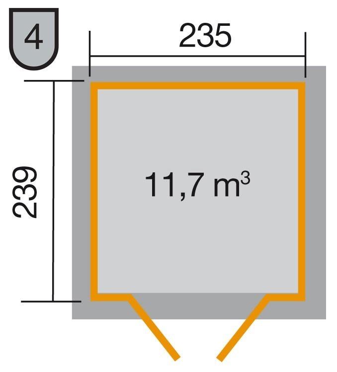 Weka Gerätehaus 21 mm Gartenhaus 226 Gr.2 anthrazit 265x259cm Bild 2