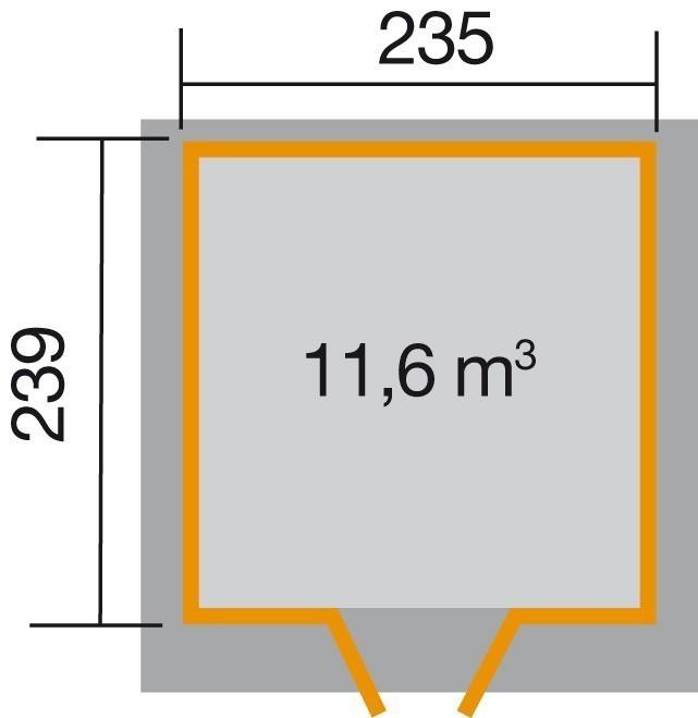 Weka Gerätehaus 21 mm Gartenhaus 227 Gr. 2 grau 255x280cm Bild 2